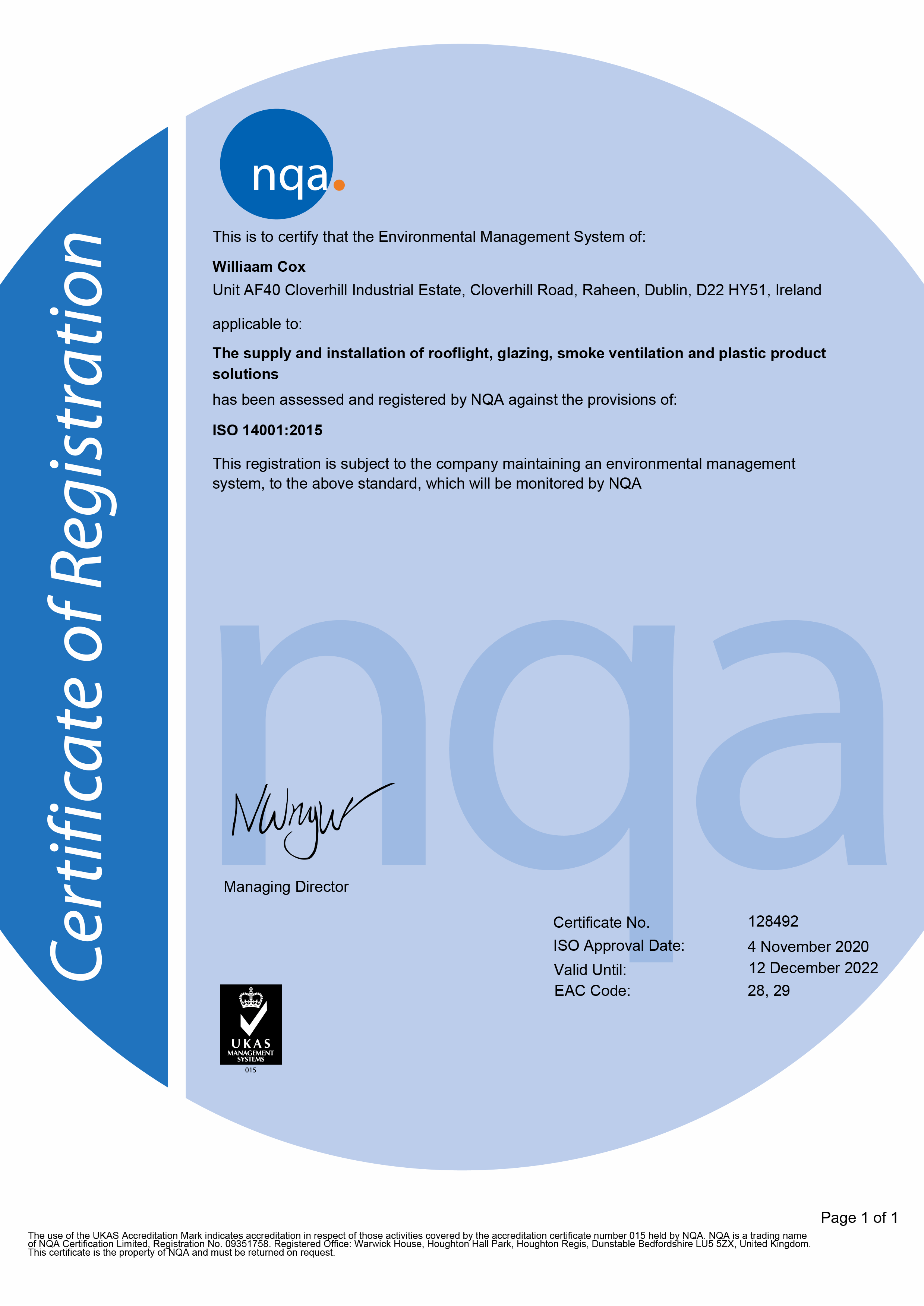 NQA ISO 14001 Environmental Management System Williaam Cox Cert