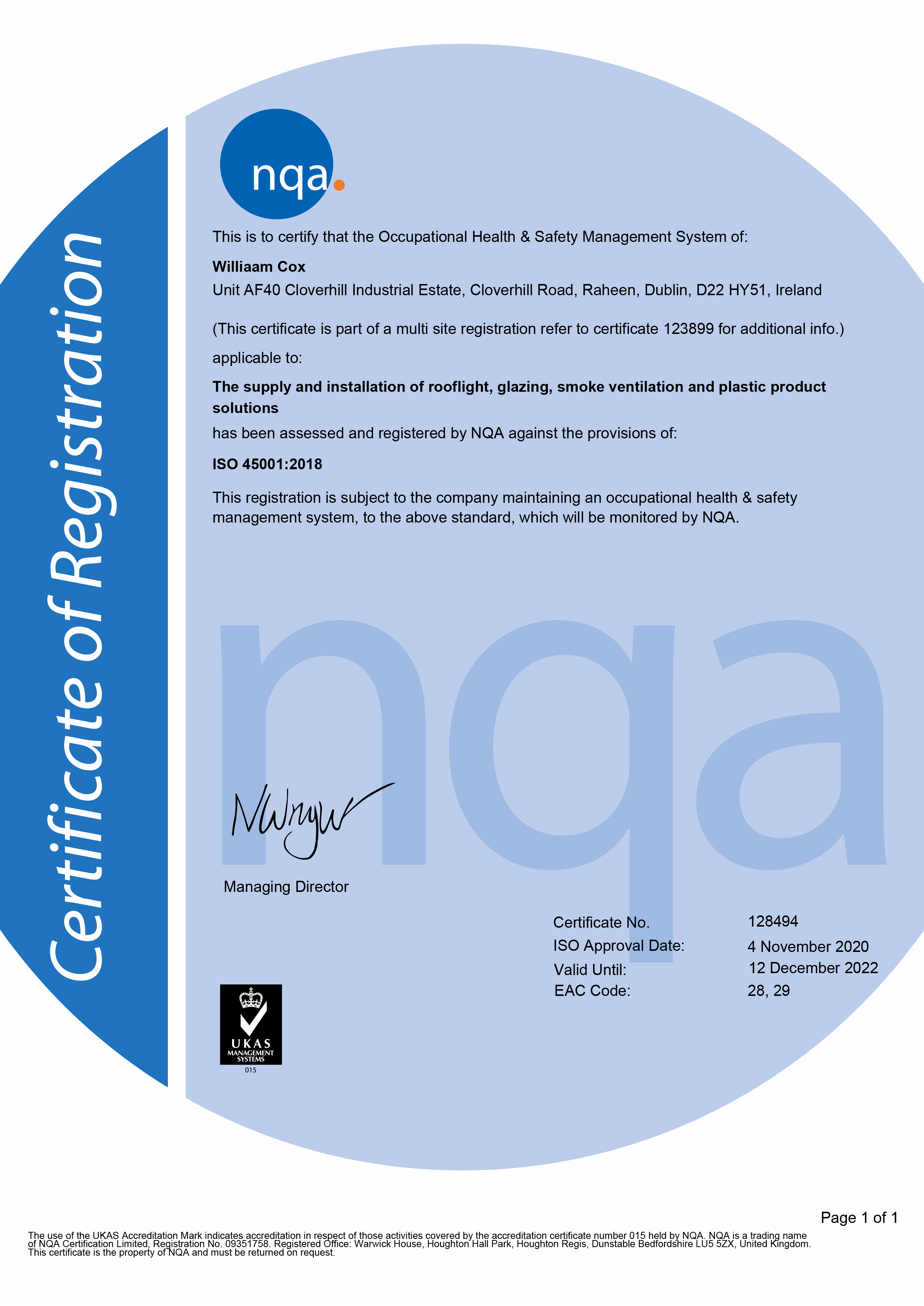 NQA ISO 45001 Occupational Health & Safety Management System Williaam Cox Cert