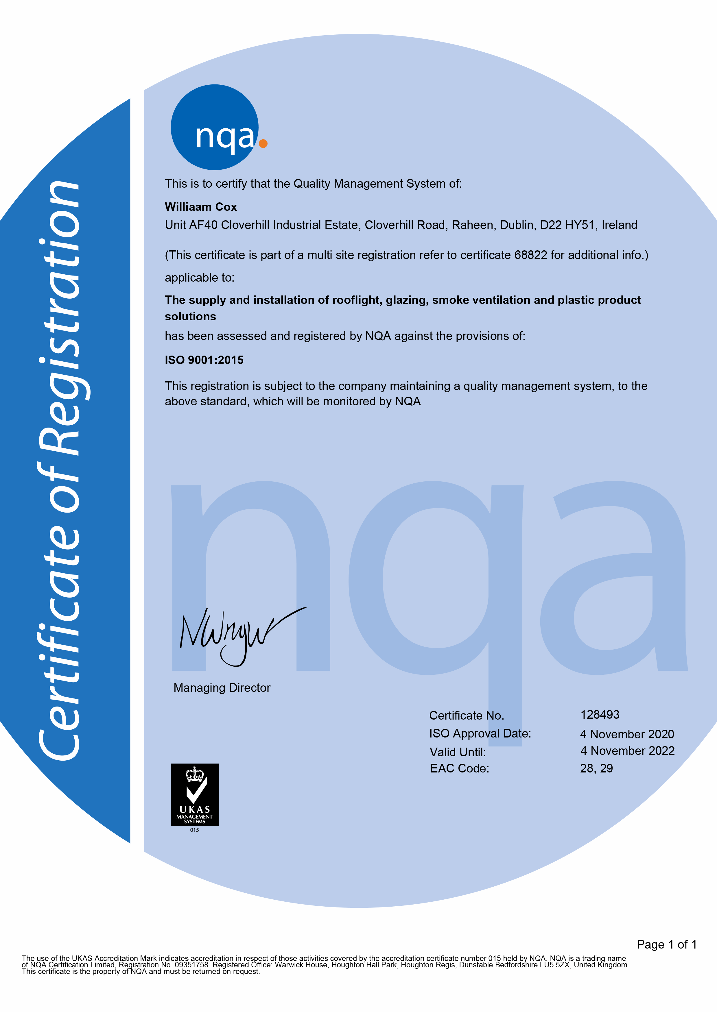 NQA ISO 9001 Quality Management System Williaam Cox Cert
