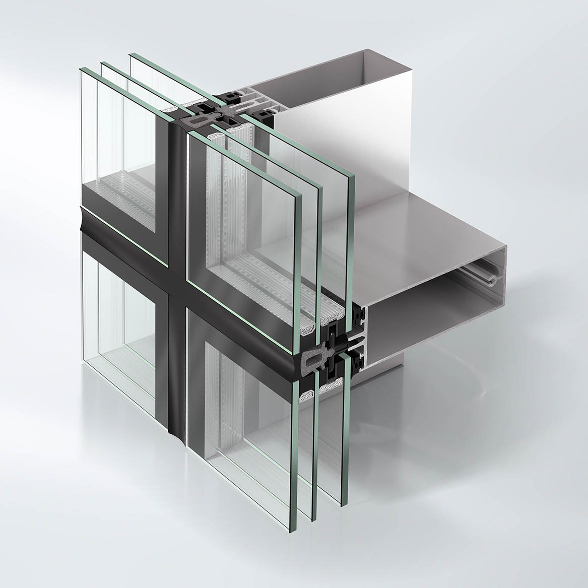 Stick curtain walling structure component
